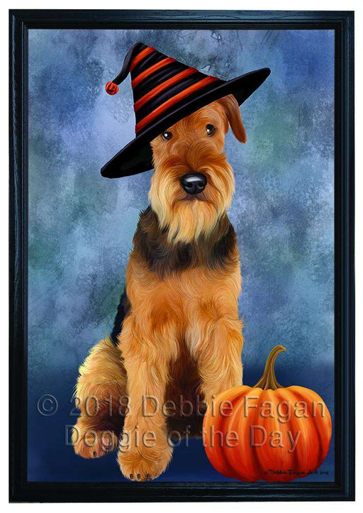 Happy Halloween Airedale Terrier Dog Wearing Witch Hat with Pumpkin Framed Canvas Print Wall Art FCVS166966