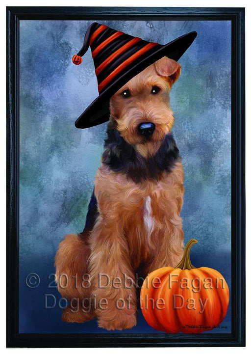 Happy Halloween Airedale Terrier Dog Wearing Witch Hat with Pumpkin Framed Canvas Print Wall Art FCVS166983