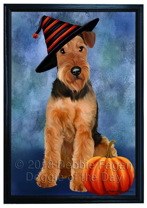 Happy Halloween Airedale Terrier Dog Wearing Witch Hat with Pumpkin Framed Canvas Print Wall Art FCVS167000