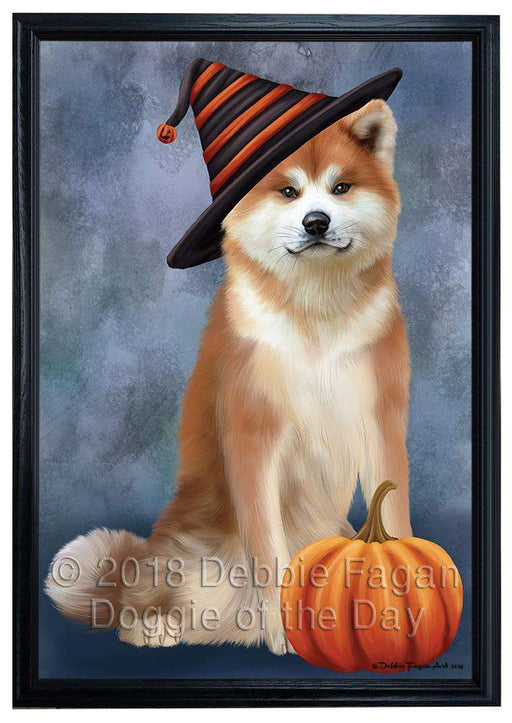 Happy Halloween Akita Dog Wearing Witch Hat with Pumpkin Framed Canvas Print Wall Art FCVS164212