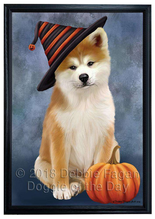 Happy Halloween Akita Dog Wearing Witch Hat with Pumpkin Framed Canvas Print Wall Art FCVS164229
