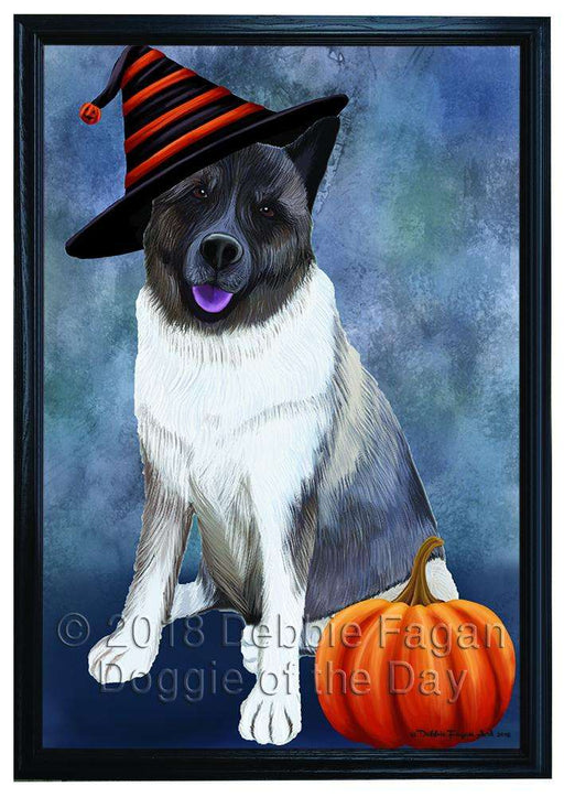 Happy Halloween Akita Dog Wearing Witch Hat with Pumpkin Framed Canvas Print Wall Art FCVS166677