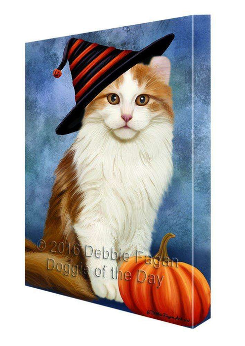 Happy Halloween American Curl Cat Wearing Witch Hat with Pumpkin Canvas Wall Art