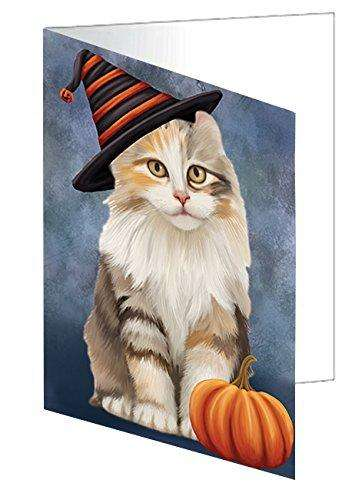 Happy Halloween American Curl Cat Wearing Witch Hat with Pumpkin Greeting Card