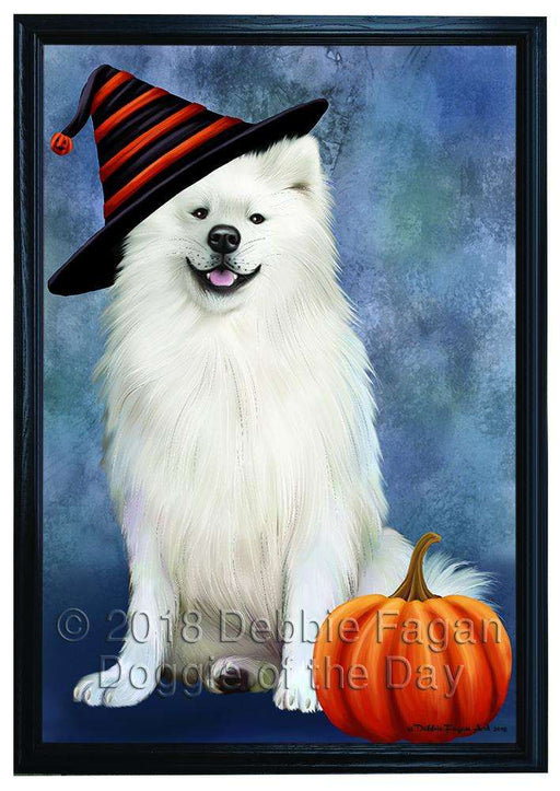 Happy Halloween American Eskimo Dog Wearing Witch Hat with Pumpkin Framed Canvas Print Wall Art FCVS166728