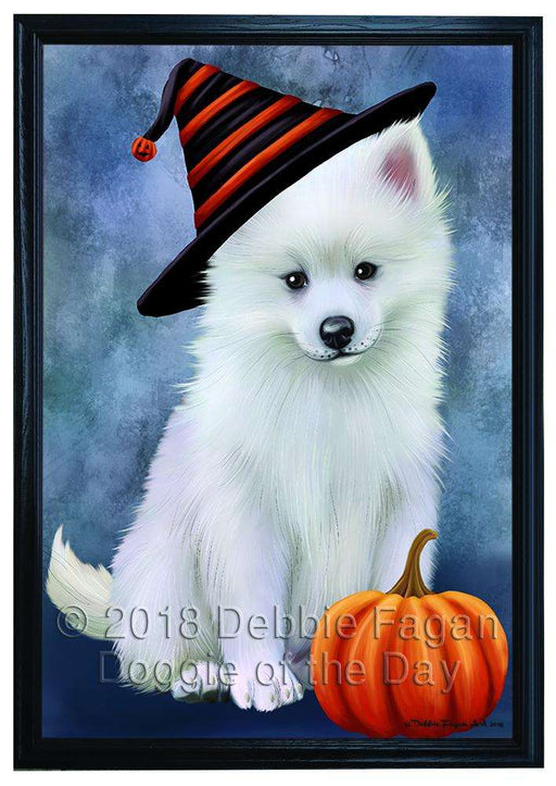 Happy Halloween American Eskimo Dog Wearing Witch Hat with Pumpkin Framed Canvas Print Wall Art FCVS166745