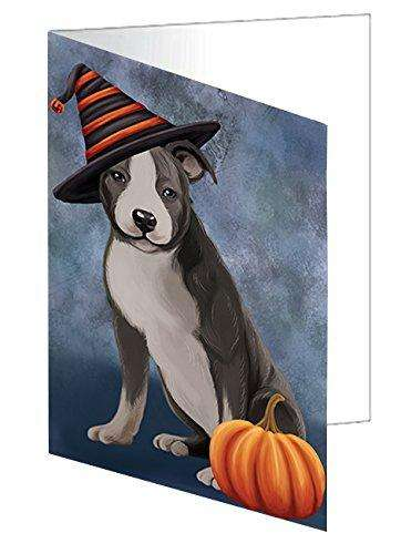 Happy Halloween American Staffordshire Dog with Witch Hat with Pumpkin Greeting Card