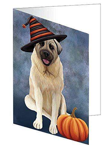 Happy Halloween Anatolian Shepherd Dog Wearing Witch Hat with Pumpkin Greeting Card