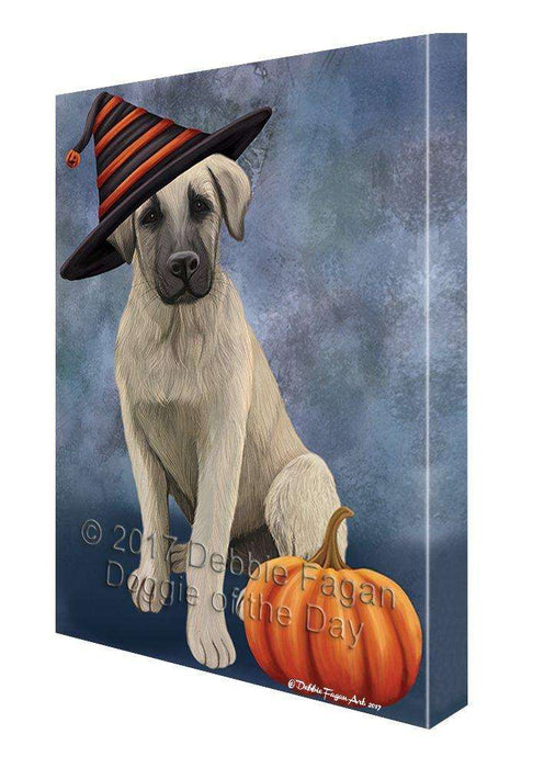 Happy Halloween Anatolian Shepherd Puppy Dog Wearing Witch Hat with Pumpkin Canvas Wall Art
