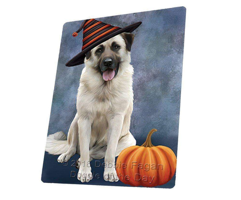Happy Halloween Anatolian Shepherds Dog Wearing Witch Hat with Pumpkin Art Portrait Print Woven Throw Sherpa Plush Fleece Blanket