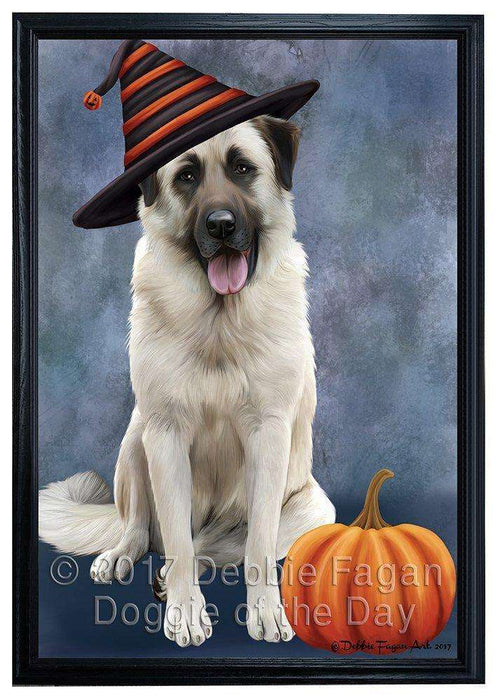 Happy Halloween Anatolian Shepherds Dog Wearing Witch Hat with Pumpkin Framed Canvas Print Wall Art