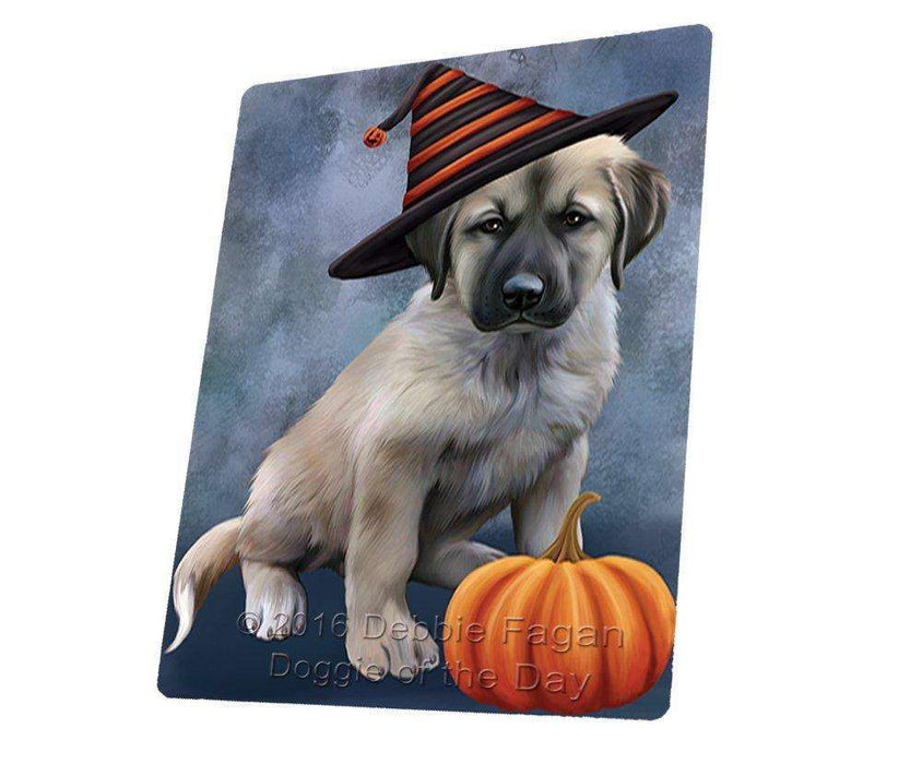 Happy Halloween Anatolian Shepherds Dog Wearing Witch Hat with Pumpkin Large Refrigerator / Dishwasher Magnet