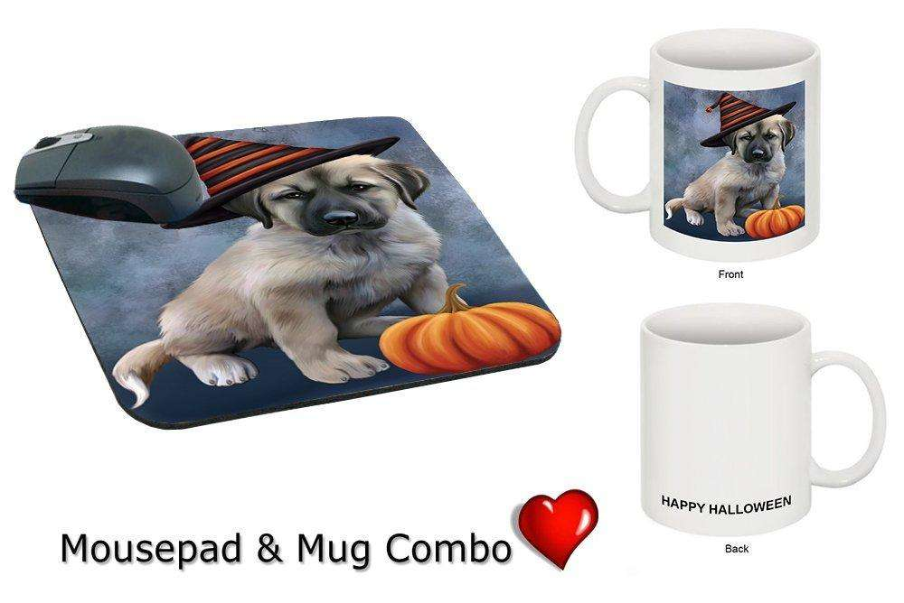 Happy Halloween Anatolian Shepherds Dog Wearing Witch Hat with Pumpkin Mug & Mousepad Combo Gift Set