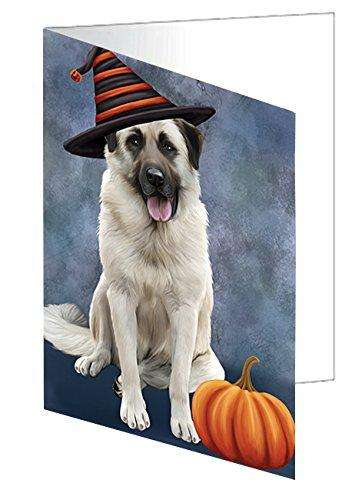 Happy Halloween Anatolian Shepherds Dog Wearing Witch Hat with Pumpkin Note Card
