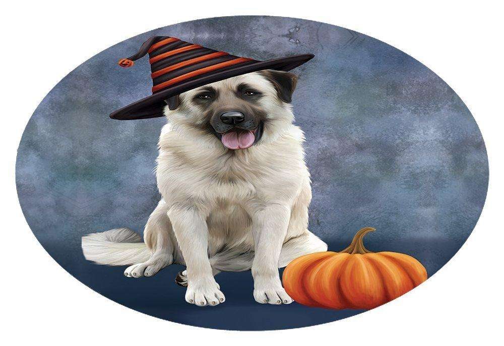 Happy Halloween Anatolian Shepherds Dog Wearing Witch Hat with Pumpkin Oval Envelope Seals