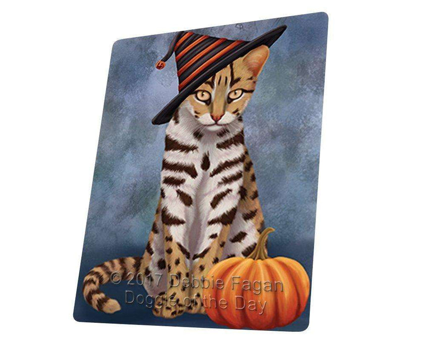 Happy Halloween Asian Leopard Cat Wearing Witch Hat with Pumpkin Art Portrait Print Woven Throw Sherpa Plush Fleece Blanket