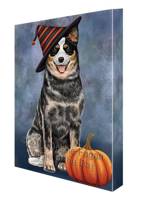 Happy Halloween Australian Cattle Dog Wearing Witch Hat with Pumpkin Canvas Wall Art