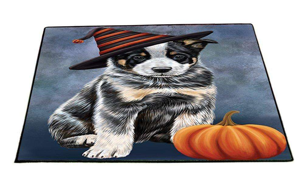 Happy Halloween Australian Cattle Dog Wearing Witch Hat with Pumpkin Indoor/Outdoor Floormat