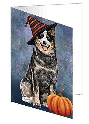 Happy Halloween Australian Cattle Dog Wearing Witch Hat with Pumpkin Note Card