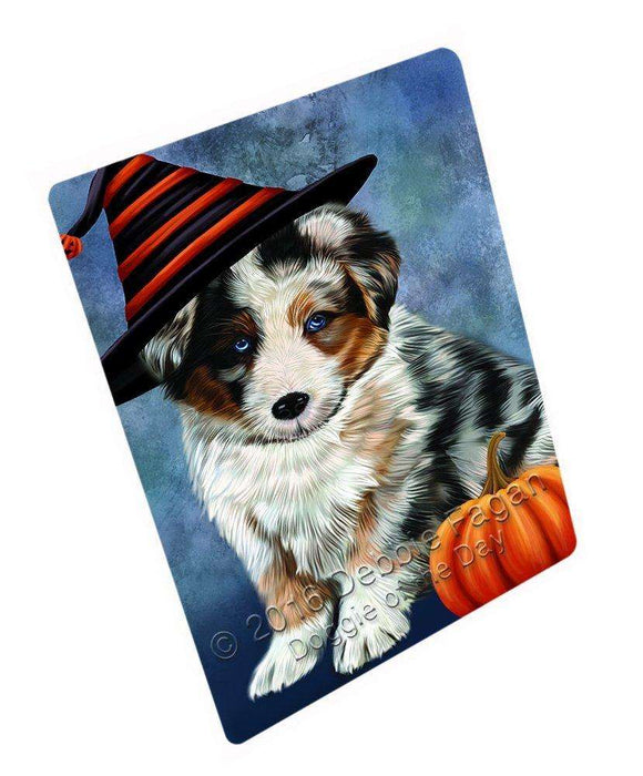 Happy Halloween Australian Shepherd Dog Wearing Witch Hat with Pumpkin Art Portrait Print Woven Throw Sherpa Plush Fleece Blanket