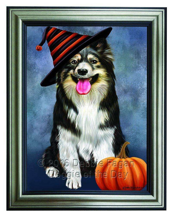 Happy Halloween Australian Shepherd Dog Wearing Witch Hat with Pumpkin Framed Canvas Print Wall Art