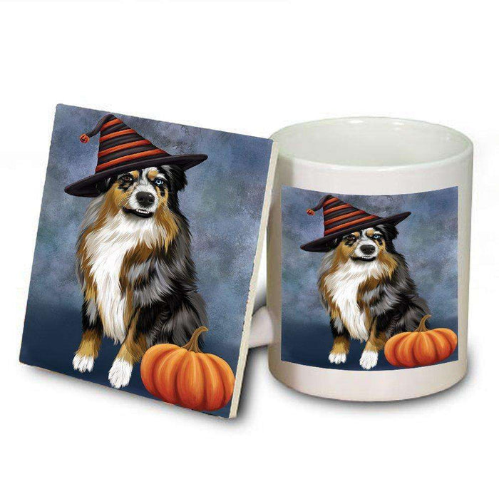 Happy Halloween Australian Shepherd Dog Wearing Witch Hat with Pumpkin Mug and Coaster Set
