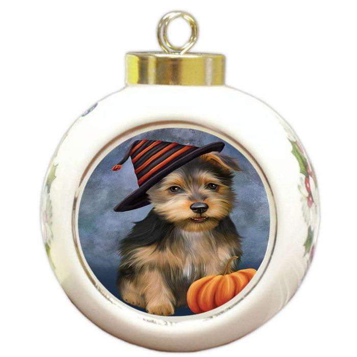 Happy Halloween Australian Terrier Dog Wearing Witch Hat with Pumpkin Round Ball Christmas Ornament RBPOR54841