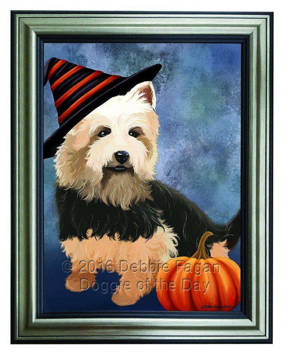 Happy Halloween Australian Terriers Dog Wearing Witch Hat with Pumpkin Framed Canvas Print Wall Art