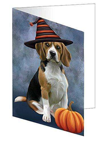 Happy Halloween Beagles Dog Wearing Witch Hat with Pumpkin Greeting Card