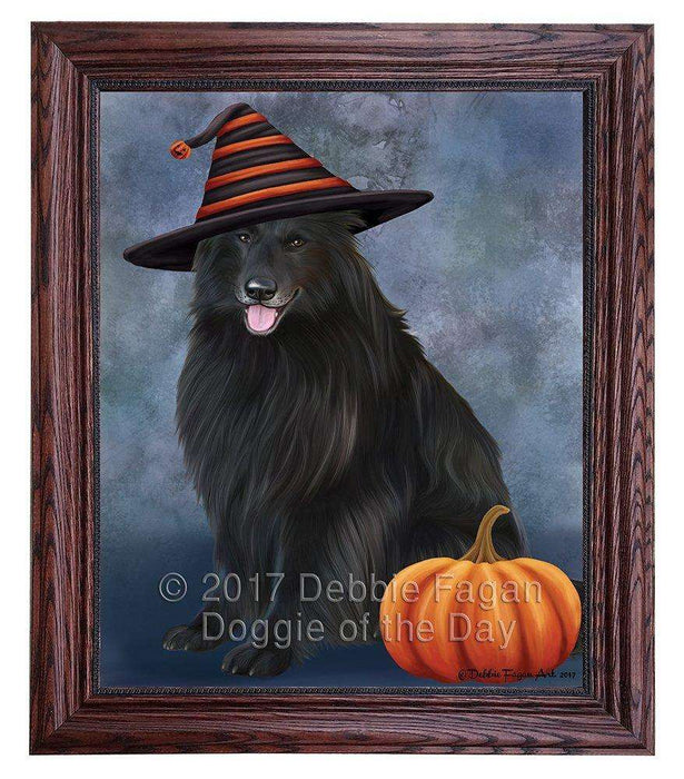 Happy Halloween Belgian Shepherds Dog Wearing Witch Hat with Pumpkin Framed Canvas Print Wall Art