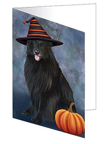 Happy Halloween Belgian Shepherds Dog Wearing Witch Hat with Pumpkin Note Card