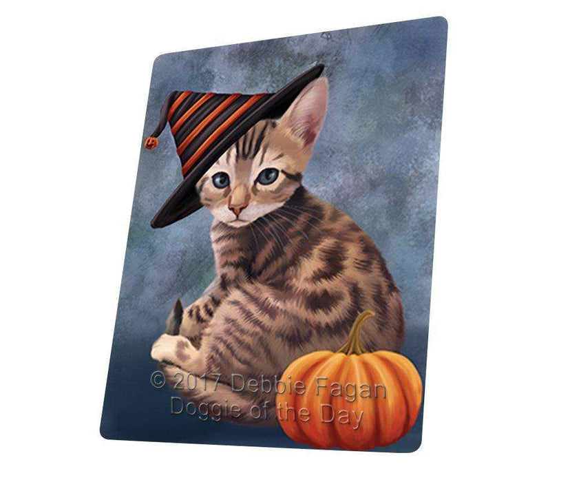 Happy Halloween Bengal Cat Wearing Witch Hat with Pumpkin Art Portrait Print Woven Throw Sherpa Plush Fleece Blanket