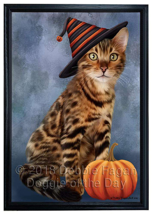 Happy Halloween Bengal Cat Wearing Witch Hat with Pumpkin Framed Canvas Print Wall Art FCVS164314