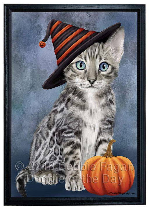 Happy Halloween Bengal Cat Wearing Witch Hat with Pumpkin Framed Canvas Print Wall Art FCVS164331