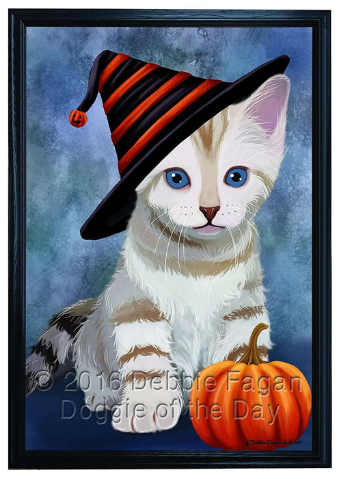 Happy Halloween Bengal Cat Wearing Witch Hat with Pumpkin Framed Canvas Print Wall Art