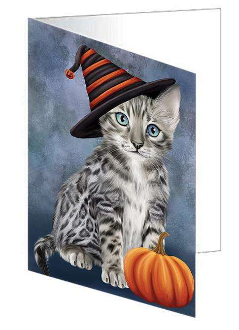 Happy Halloween Bengal Cat Wearing Witch Hat with Pumpkin Greeting Card GCD68558