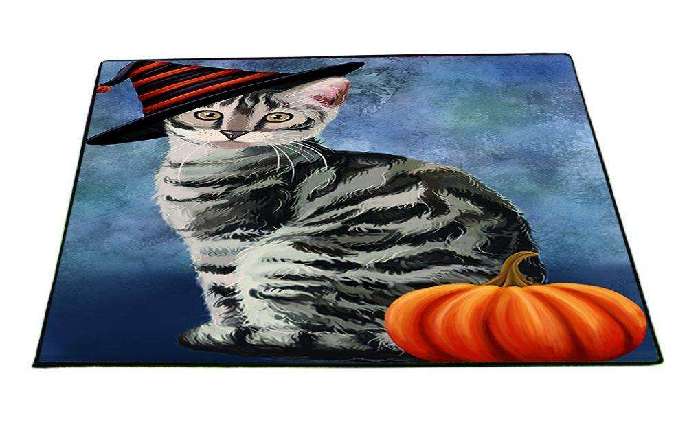 Happy Halloween Bengal Cat Wearing Witch Hat with Pumpkin Indoor/Outdoor Floormat