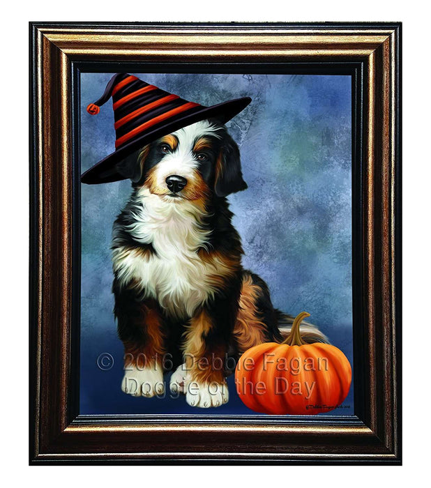 Happy Halloween Bernedoodle Dog Wearing Witch Hat with Pumpkin Framed Canvas Print Wall Art