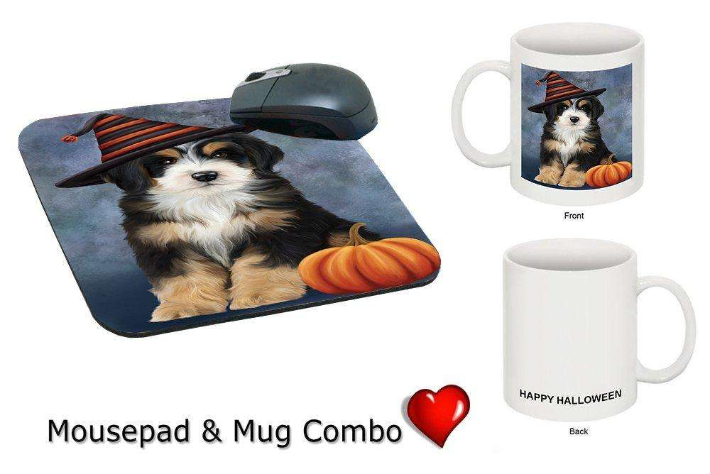 Happy Halloween Bernedoodle Dog Wearing Witch Hat with Pumpkin Mug & Mousepad Combo Gift Set