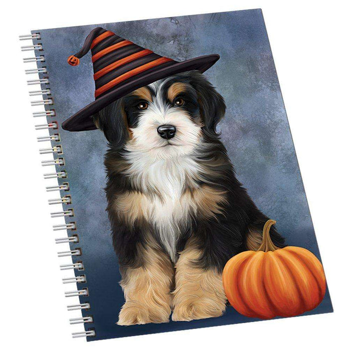 Happy Halloween Bernedoodle Dog Wearing Witch Hat with Pumpkin Notebook
