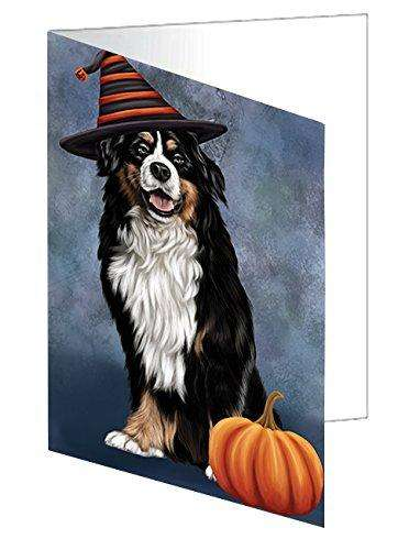 Happy Halloween Bernese Dog Wearing Witch Hat with Pumpkin Greeting Card