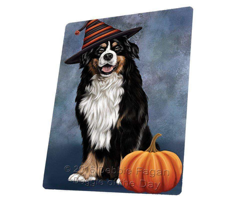 "Happy Halloween Bernese Dog Wearing Witch Hat With Pumpkin Magnet Mini (3.5"" x 2"")"