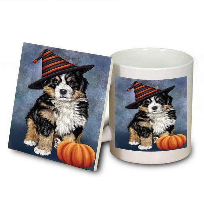 Happy Halloween Bernese Dog Wearing Witch Hat with Pumpkin Mug and Coaster Set