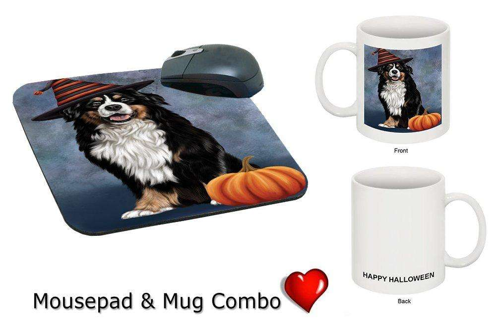 Happy Halloween Bernese Dog Wearing Witch Hat with Pumpkin Mug & Mousepad Combo Gift Set