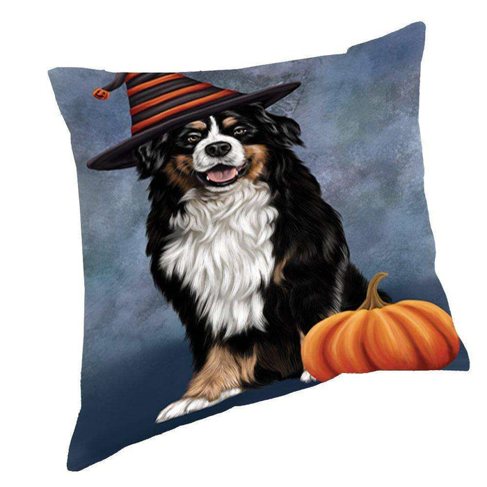 Happy Halloween Bernese Dog Wearing Witch Hat with Pumpkin Throw Pillow