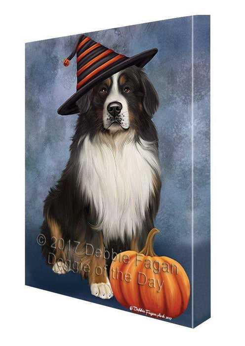Happy Halloween Bernese Mountain Dog and Witch Hat with Pumpkin Wall Art Canvas