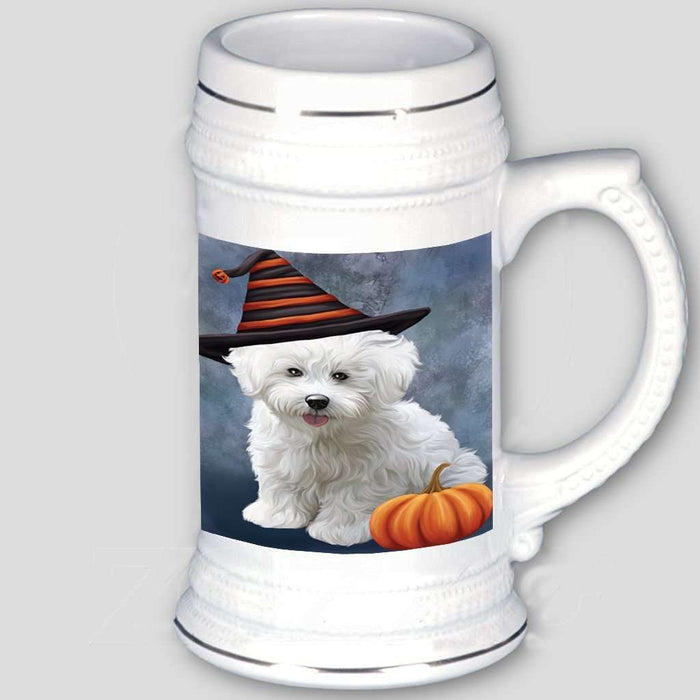 Happy Halloween Bichon Frise Dog Wearing Witch Hat with Pumpkin Beer Stein