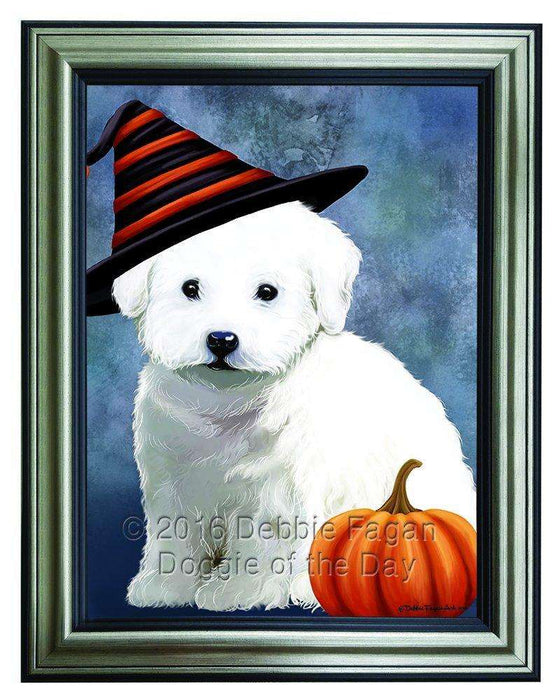 Happy Halloween Bichon Frise Dog Wearing Witch Hat with Pumpkin Framed Canvas Print Wall Art