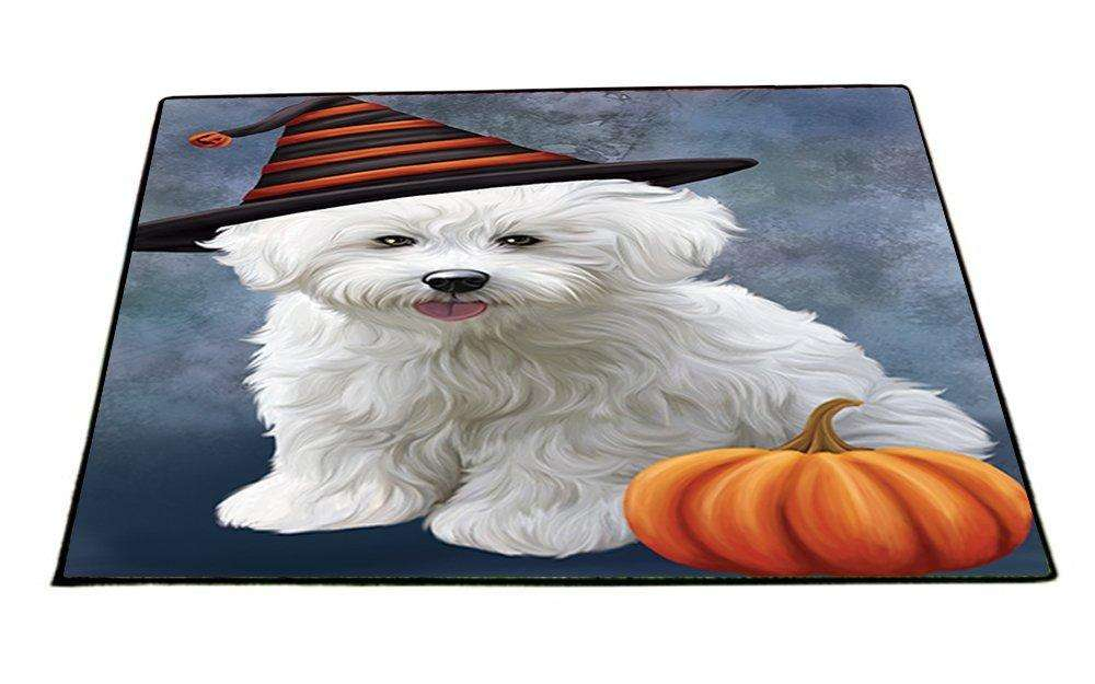 Happy Halloween Bichon Frise Dog Wearing Witch Hat with Pumpkin Indoor/Outdoor Floormat