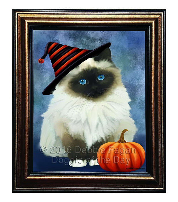 Happy Halloween Birman Cat Wearing Witch Hat with Pumpkin Framed Canvas Print Wall Art